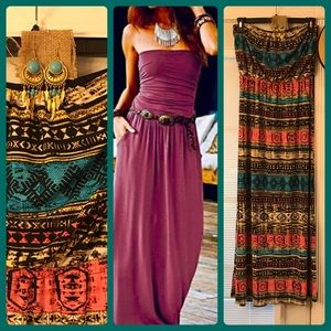Dresses & Skirts - Beautiful strapless maxi w/earrings